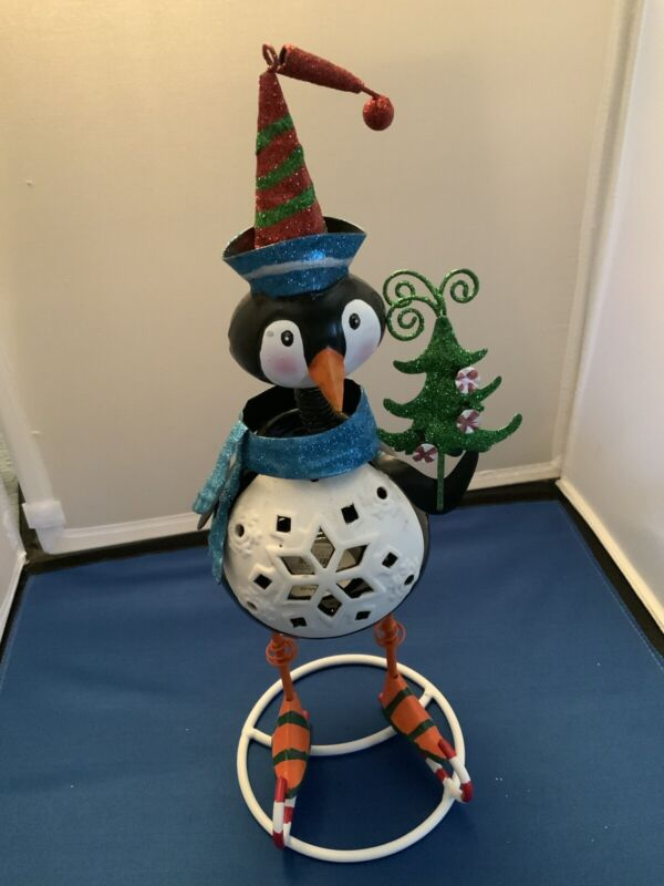 Pier 1 Imports Bobblehead Skating Penguin Tealight Candle Holder
