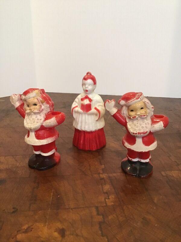 Vintage Christmas Decorations Santa Hard Plastic