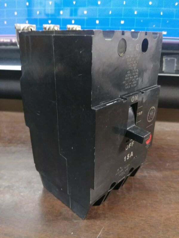 GE GENERAL ELECTRIC TEY315 CIRCUIT BREAKER 15 AMP 277/480V 3 POLE NEW TAKE-OUT