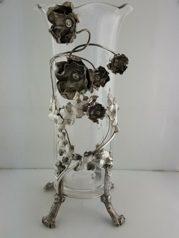 """Rare Sterling & Glass PHELPS & CARY 10 1/2"""" Vase w/ Floral Leaves THEODORE STARR"""