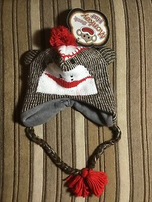 Adult Size Warm Brown Sock Monkey Knit Hat Great for Cold Weather New With - Adult Sock Monkey Hat