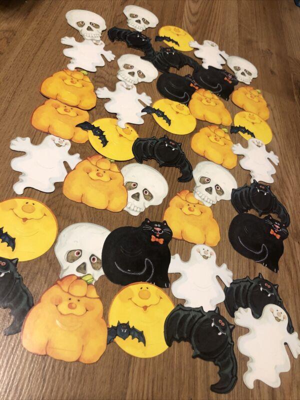 VTG Vintage 80's 90's Halloween Lot of 39 Sucker Holders Card Ghost Bat Pumpkin