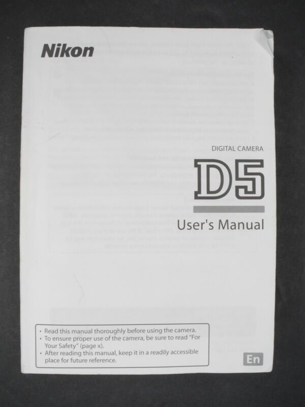 Nikon Genuine D5 Camera Instruction Book / Manual / User Guide