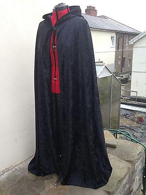 pointy hooded cloak black crushed velvet   more colours available (c39cv) ()