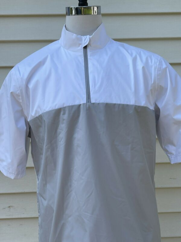 MEN'S LARGE L ADIDAS CLIMASTORM PROVISIONAL S/S RAIN GOLF JACKET WHITE GRAY