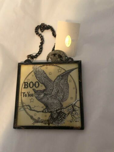 x47189 Halloween Owl Boo To You Glass Picture Ornament