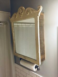 VINTAGE RECLAIMED WOOD BATHROOM MEDICINE CABINET ANTIQUE MIRROR