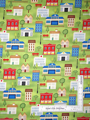 City Town Buildings School Green Cotton Fabric Wilmington Help On The Way   Yard