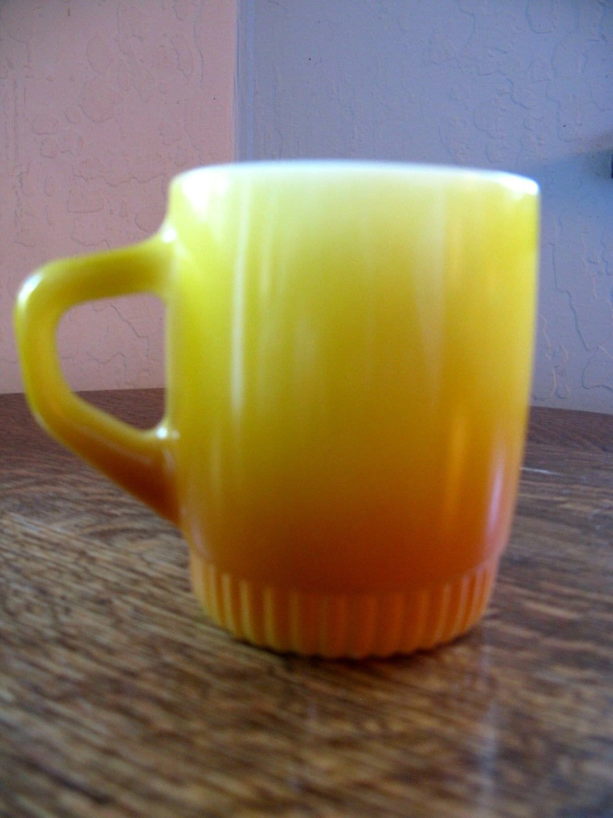 Vintage Fire King Coffee Cups Mugs X2 Yellow Ochre White W Advertising Ribbed US - $12.00