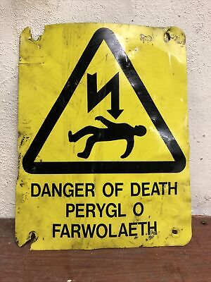 Vintage Small Welsh Danger Of Death Electric Sign, Mancave, Retro Decorative
