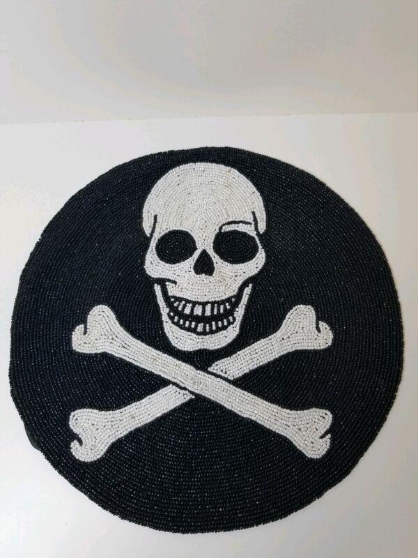 Vintage Skull and Cross Bones Skeleton Beaded Place Mat Halloween Decor