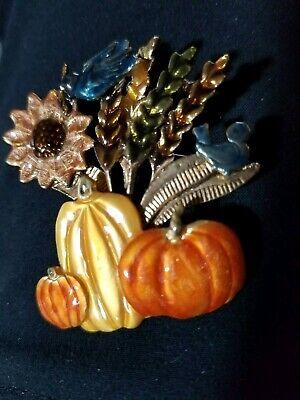 Costume Jewelry Marked KC Autumn Enamel Pin - Kc Costume
