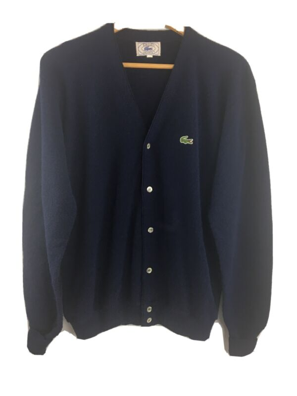 Vtg Izod Lacoste Cardigan XL Mens Navy Blue Grandpa Sweater Made in USA