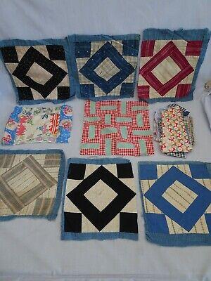8 Antique All Hand Stitched Old Cotton Print Quilt Block Squares & Scraps