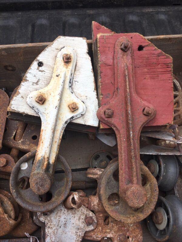Antique Set of 2 Cast Iron  Barn Door Rollers Trolley