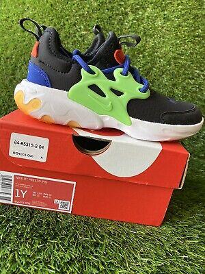 BOYS: Nike React Presto Shoes, Black/Green Nebula - Size 1Y BQ4003-006