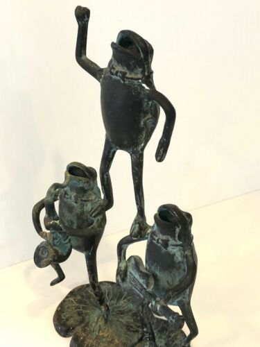 Vintage Three Frogs Playing Musical Instruments Singing Garden Cast Bronze