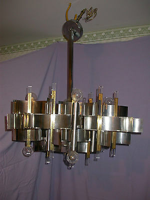 Vintage Modern Gaetano Sciolari Chrome & Brass Chandelier 12 Light