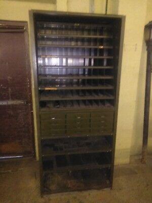 Lyons Industrial Metal 12 Drawer 88 Pigeon Hole Parts Bin Cabinet Shelf