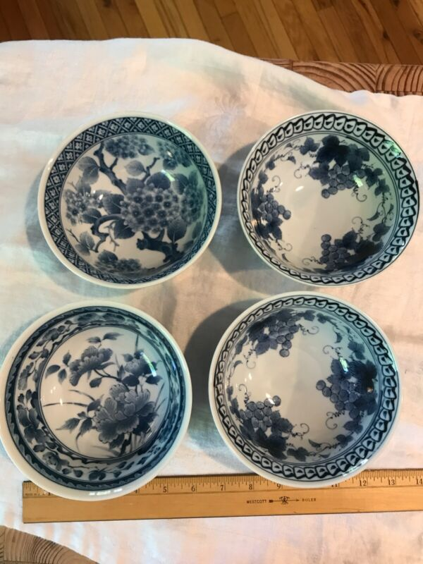 "4 PCS. 6"" Japanese Chinese Rice Soup Noodle Bowl Blue White Ajisai Made in Japan"