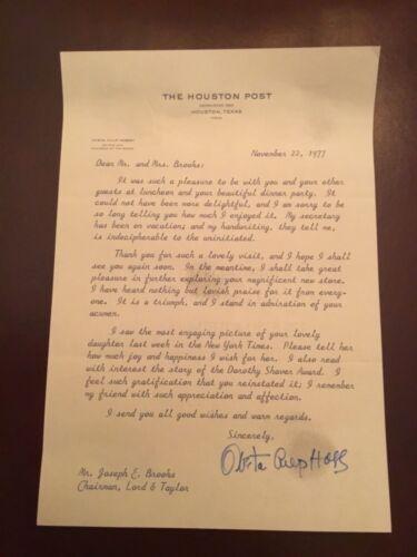 OVETA CULP HOBBY - Letter SIGNED