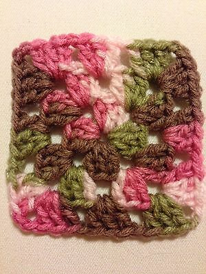 "20 4"" PINK CAMO Variegated Hand Crocheted GRANNY SQUARES Afghan Yarn Blocks"