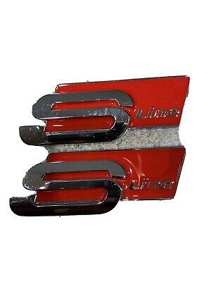 AUDI A4/S4 A6 S LINE Fender EMBLEM RED/SILVER BADGE sign symbol logo