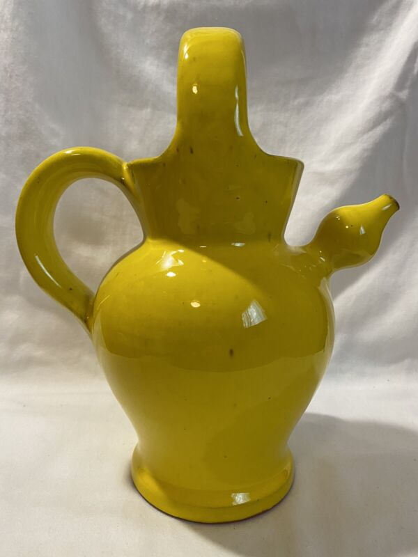 Robert Picault Pottery France Yellow Wine Pitcher Jug Handle