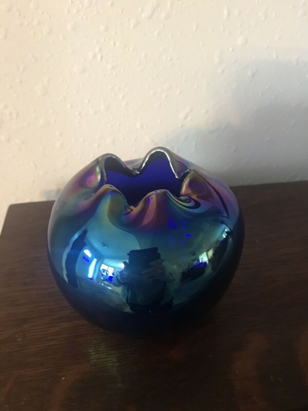 Intaglio Carnival Glass Bud Vase - Hand Blown & Signed - Cobalt Blue