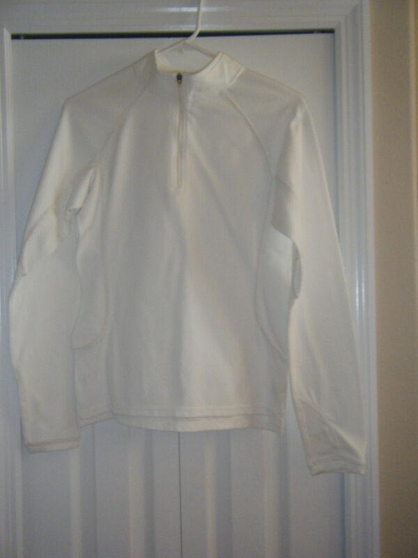 DRL WHITE ATHLETIC TOP LONG SLEEVE 1/2 ZIPPER FRONT SIZE M