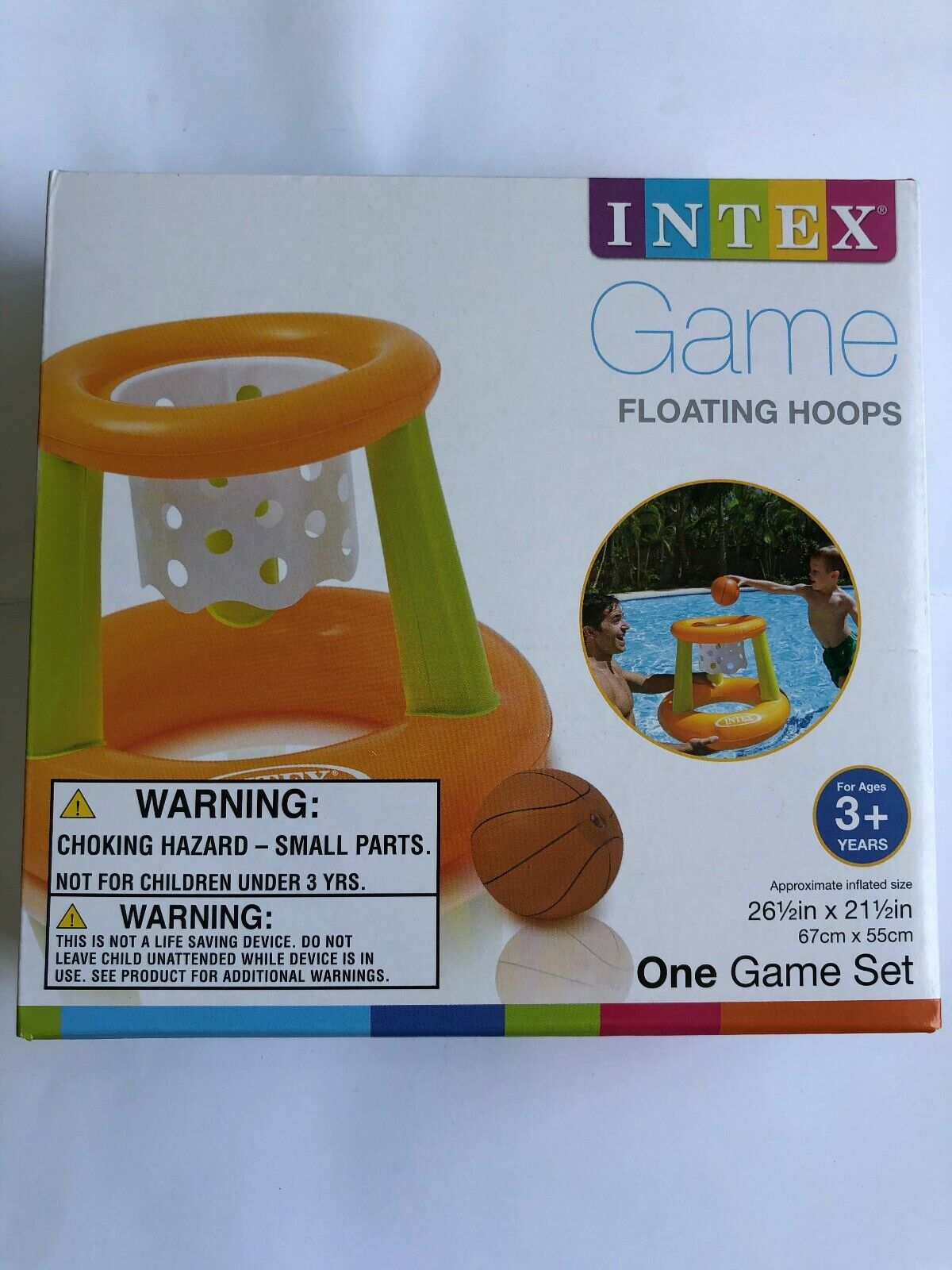 Intex - Floating Hoops 3, Incl Inflatable Pool Hoop and Bask