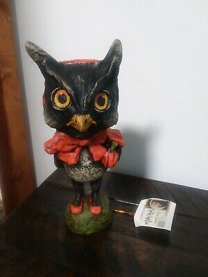 "Halloween Debra Schoch Owl Orange Cape Bethany Lowe 7.5"" Bethany Lowe..Retired"