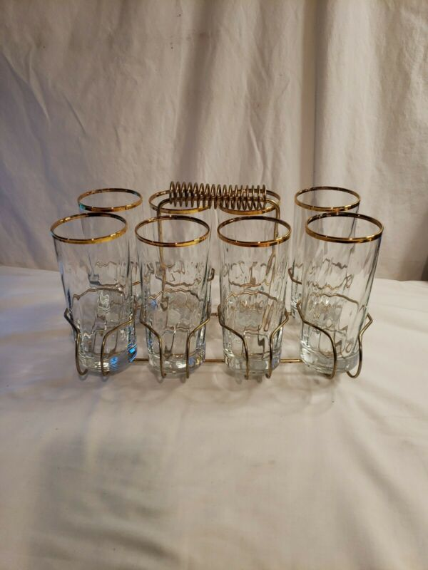Eames Era Mid Century Modern Drinking Glass Caddy With Gold Rim Glasses