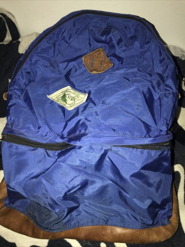 VINTAGE REI CO-OP LEATHER Seattle USA Blue 2 Compartment YKK Backpack Daypack