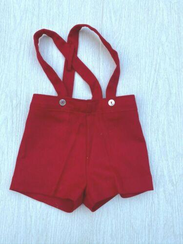 Vintage Saks Fifth Avenue Red Suspender Shorts Toddler Baby Boy 2T