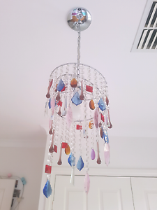 Light fitting silver with crystals  $50 ono Greenwith Tea Tree Gully Area Preview