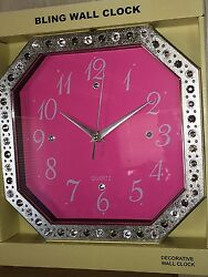 PINK RHINESTONES BLING WALL DECORATIVE CLOCK NIB NEW BATTERY OCTAGONAL PRINCESS