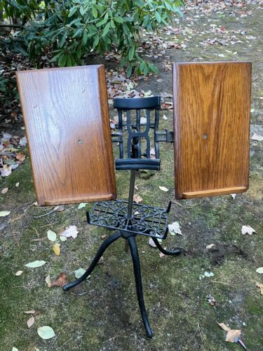Antique Arts & Crafts Oak and Cast Iron Library Dictionary Book Stand c 1910