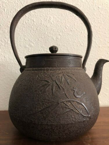 Old Japanese Cast Iron Teapot Tetsubin Signed 9""