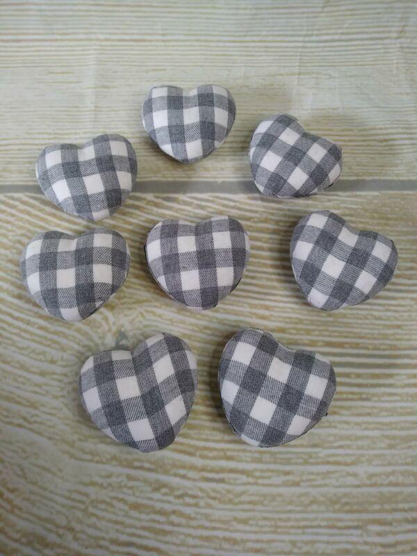 New! 8 White & GRAY HEARTS Buffalo Plaid Check Decor Vase Filler Valentine