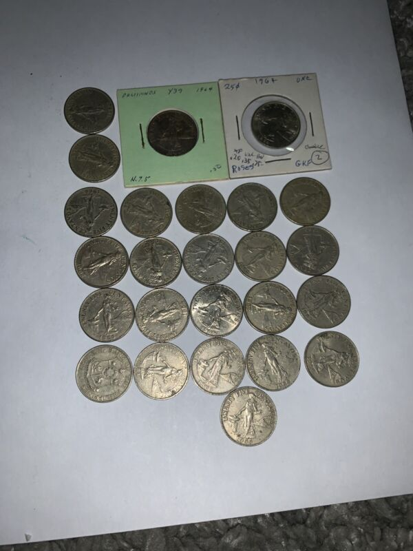 Old Philippines Coin Lot - 25 CENTAVOS -  Mixed Type Coins -
