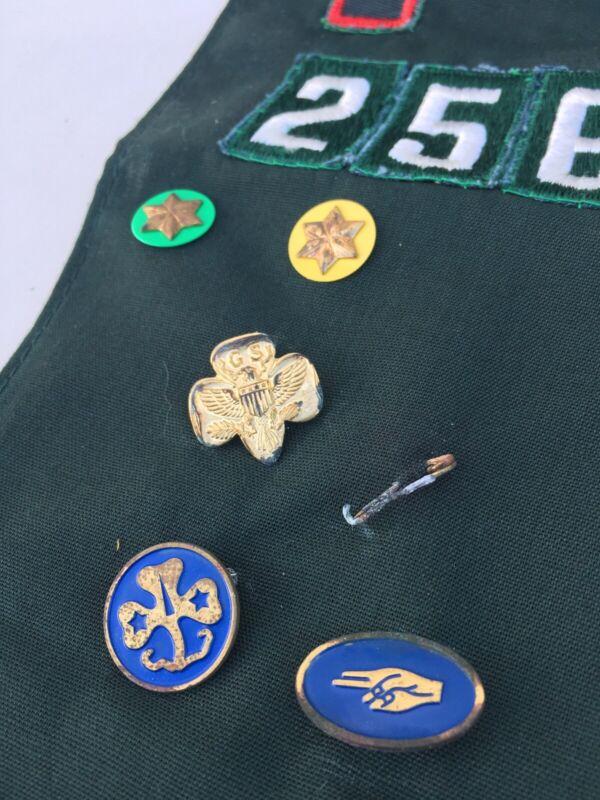 Vintage Girl Scout Sash Merit Badges Pins River Trails
