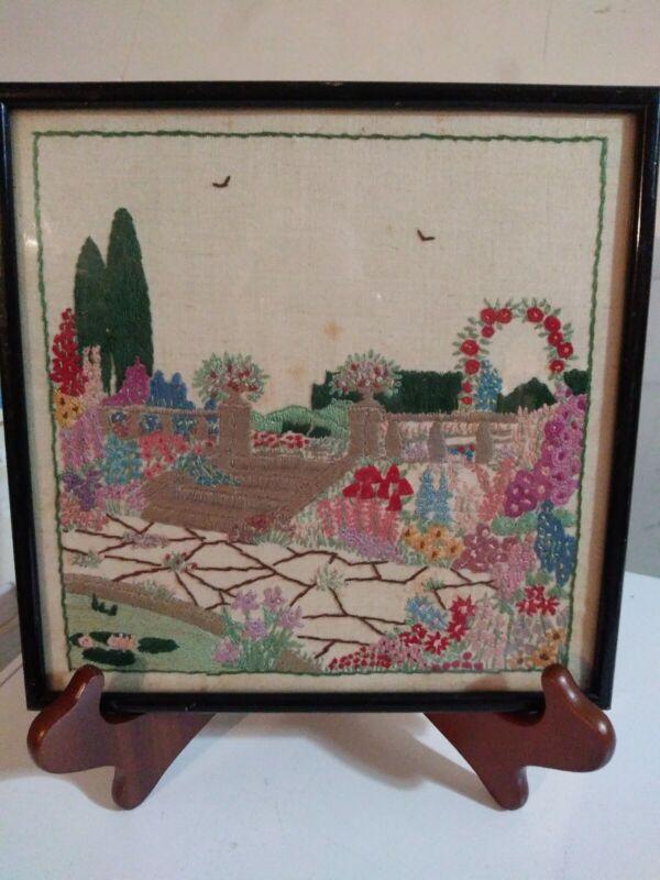 Vintage Needlepoint of flower garden