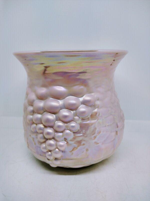 Gibson Art Glass Pink Irridescent Spittoon Vase 1990