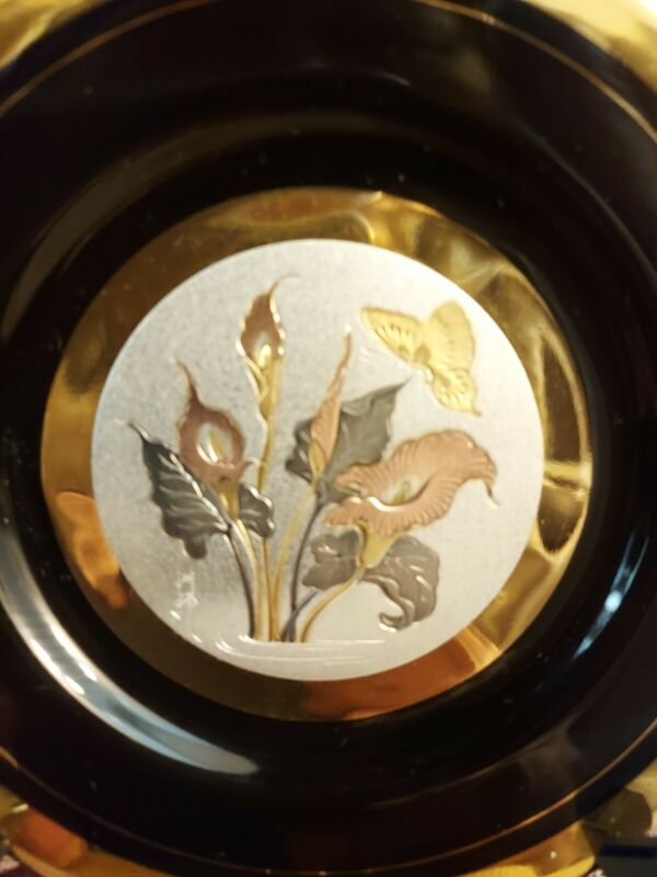 Gold and silver Plated/ engraved 2 plates set Choken beautiful home decore
