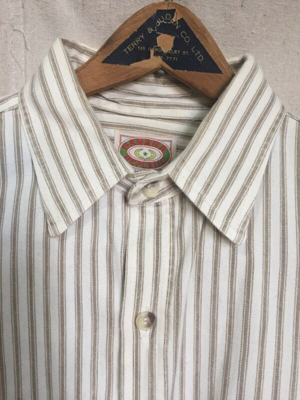 vtg Early Banana Republic Khaki Stripe Safari L/S Shirt Made In USA