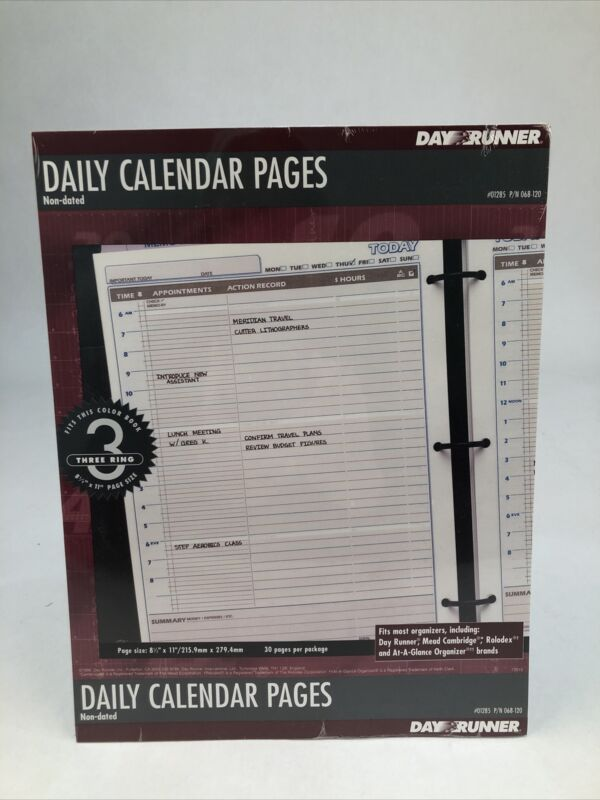 "Day Runner Daily Calendar Pages Non-Dated 30 pages 8 1/2"" x 11""  #01285"