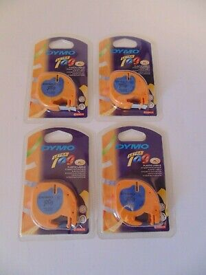 Lot Of 4 Genuine Dymo Letratag Ultra Blue Plastic 12 X 13 Ft Labels Refills