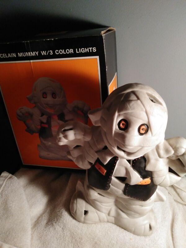 Vintage Light-up  Mummy by Studio 5 Porcelain Halloween Decor 10 inches high