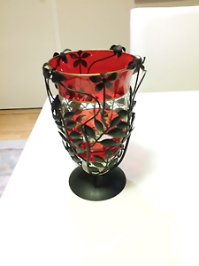 60s GLASS VASE RED WITH BLACK DECORATIVE HOLDER Brookfield Melton Area Preview
